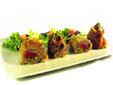 Flamenquines rellenos de jamón, pimiento y espárragos con ensalada variada