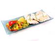Papilote de pollo y verduras con salsa de queso